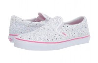 Vans Kids Classic Slip-On (Little Kid/Big Kid) (Glitter Stars) True White/Carmine Rose