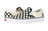 Vans Classic Slip-On™ Core Classics Black and White Checker/White (Canvas) Black Friday Sale