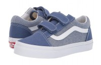 Christmas Deals 2019 - Vans Kids Old Skool V (Little Kid/Big Kid) (Chambray) Canvas True Navy/True White