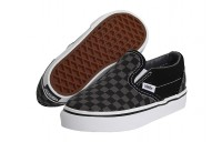 [ Hot Deals ] Vans Kids Classic Slip-On Core (Toddler) (Checkerboard) Black/Pewter