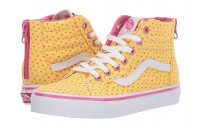 [ Hot Deals ] Vans Kids Sk8-Hi Zip (Little Kid/Big Kid) (Hand Drawn Hearts) Aspen Gold/True White