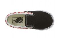[ Hot Deals ] Vans Kids Classic Slip-On (Toddler) (Checkerboard) Black/Red