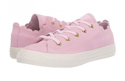 Converse Kids Chuck Taylor® All Star® Scalloped Suede - Ox (Little Kid) Pink Foam/Pink Foam/Brasss