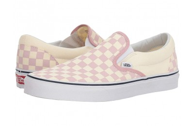 [ Hot Deals ] Vans Classic Slip-On™ (Checkerboard) Zephyr Pink/True White