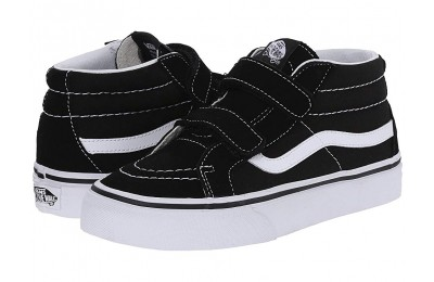 [ Hot Deals ] Vans Kids SK8-Mid Reissue V (Little Kid/Big Kid) Black/True White