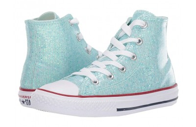 Converse Kids Chuck Taylor All Star Sparkle - Hi (Little Kid/Big Kid) Teal Tint/Enamel Red/White