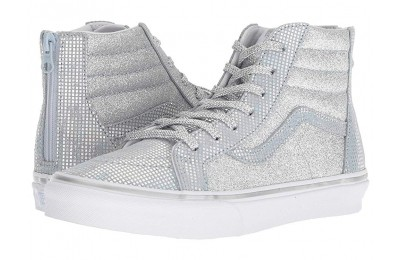 Vans Kids Sk8-Hi Zip (Little Kid/Big Kid) (Metallic Glitter) Silver Black Friday Sale