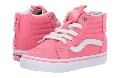 Vans Kids Sk8-Hi Zip (Toddler) (Heart Eyelet) Strawberry Pink/True White