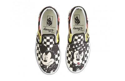 Vans Kids Mickey's 90th Classic Slip-On (Little Kid/Big Kid) (Disney) Mickey & Minnie/Checker Flame Black Friday Sale