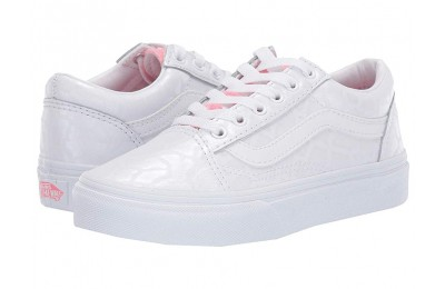 Vans Kids Old Skool (Little Kid/Big Kid) (White Giraffe) True White/Strawberry Pink