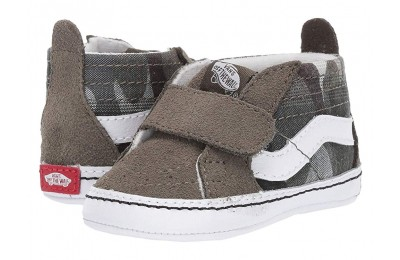 [ Hot Deals ] Vans Kids SK8-Hi Crib (Infant/Toddler) (Plaid Camo) Grape Leaf/True White