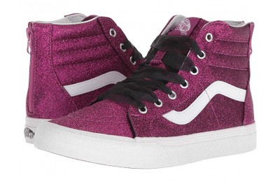Vans Kids Sk8-Hi Zip (Little Kid/Big Kid) (Glitter) Wild Aster/True White Black Friday Sale