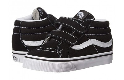 [ Hot Deals ] Vans Kids SK8 Mid Reissue V (Toddler) Black/True White