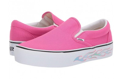 [ Hot Deals ] Vans Classic Slip-On Platform (Sidewall Flame) Carmine Rose