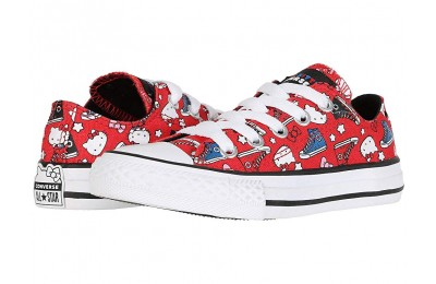 [ Hot Deals ] Converse Kids Hello Kitty® Chuck Taylor® All Star® Ox (Little Kid) Fiery Red/Black/White