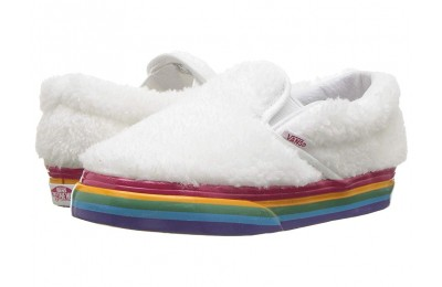 [ Black Friday 2019 ] Vans Kids Classic Slip-On (Infant/Toddler) (Shearling Rainbow) True White
