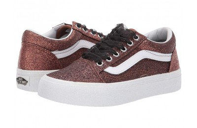 [ Hot Deals ] Vans Kids Old Skool (Little Kid/Big Kid) (Glitter) Bronze/True White