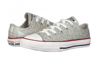 Converse Kids Chuck Taylor All Star Sparkle - Ox (Little Kid/Big Kid) Mouse/Enamel Red/White