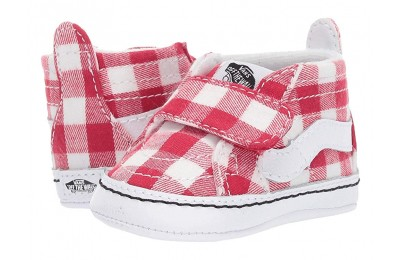 Christmas Deals 2019 - Vans Kids SK8-Hi Crib (Infant/Toddler) (Gingham) Racing Red/True White