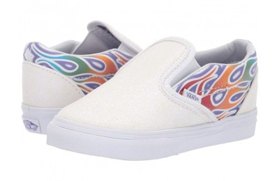 [ Hot Deals ] Vans Kids Classic Slip-On (Infant/Toddler) (Sparkle Flame) Rainbow/True White