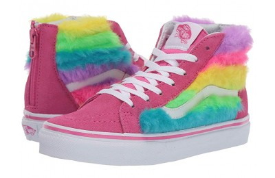 [ Hot Deals ] Vans Kids Sk8-Hi Zip (Little Kid/Big Kid) (Rainbow Fur) Carmine Rose/True White