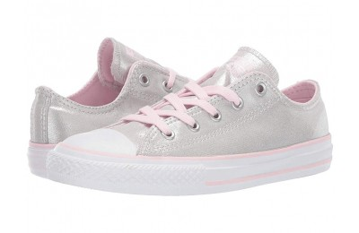 Hot Sale Converse Kids Chuck Taylor All Star Twilight Court - Ox (Little Kid/Big Kid) Mouse/Pink Foam/White