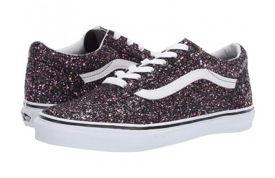 Christmas Deals 2019 - Vans Kids Old Skool (Little Kid/Big Kid) (Glitter Stars) Black/True White