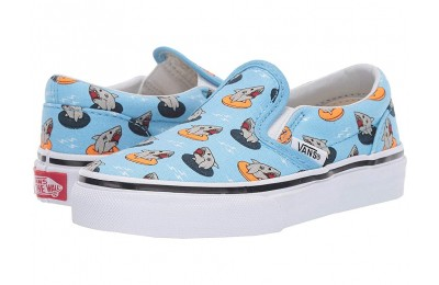 Vans Kids Classic Slip-On (Little Kid/Big Kid) (Floatie Sharks) Sailor Blue/True White