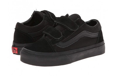 Christmas Deals 2019 - Vans Kids Old Skool V (Little Kid/Big Kid) Black/Black