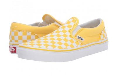 Vans Kids Classic Slip-On (Little Kid/Big Kid) (Checkerboard) Aspen Gold/True White Black Friday Sale