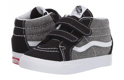 [ Black Friday 2019 ] Vans Kids Sk8-Mid Reissue V (Toddler) (Chambray) Canvas True Navy/True White