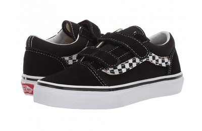 Vans Kids Old Skool V (Little Kid/Big Kid) (Sidestripe V) Black/True White