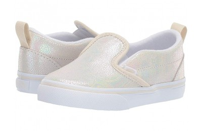 [ Hot Deals ] Vans Kids Slip-On V (Toddler) (Metallic Oil Slick) True White/Turtledove