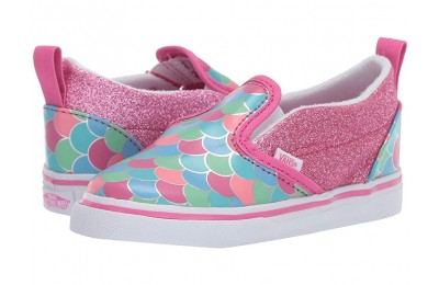 [ Hot Deals ] Vans Kids Slip-On V (Toddler) (Mermaid Scales) Carmine Rose/True White