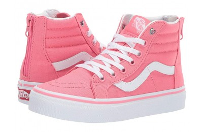 Vans Kids Sk8-Hi Zip (Little Kid/Big Kid) (Heart Eyelet) Strawberry Pink/True White
