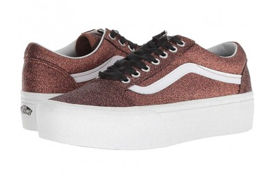 [ Black Friday 2019 ] Vans Old Skool Platform (Glitter) Bronze/True White