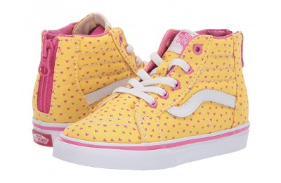 [ Hot Deals ] Vans Kids Sk8-Hi Zip (Toddler) (Hand Drawn Hearts) Aspen Gold/True White