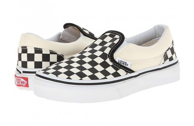 Vans Kids Classic Slip-On (Little Kid/Big Kid) (Checkerboard) Black/White Black Friday Sale