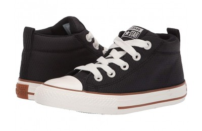 Converse Kids Chuck Taylor All Star Street Pinstripe - Mid (Little Kid/Big Kid) Black/Gum/Egret