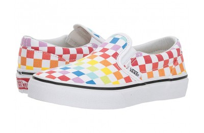 Vans Kids Classic Slip-On (Little Kid/Big Kid) (Checkerboard) Rainbow/True White Black Friday Sale