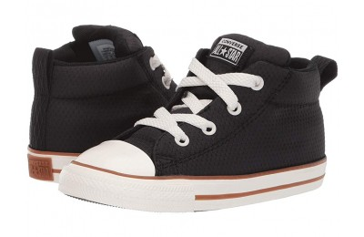 [ Hot Deals ] Converse Kids Chuck Taylor All Star Street Pinstripe - Mid (Infant/Toddler) Black/Gum/Egret