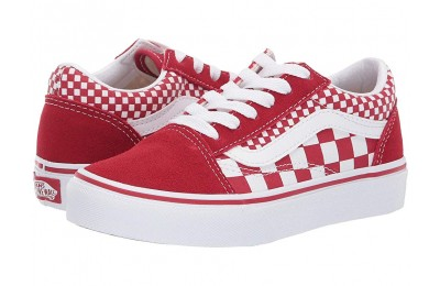 [ Black Friday 2019 ] Vans Kids Old Skool (Little Kid/Big Kid) (Mix Checker) Chili Pepper/True White