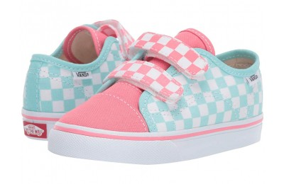 Vans Kids Style 23 V (Toddler) (Checkerboard) Blue Tint/Strawberry Pink Black Friday Sale