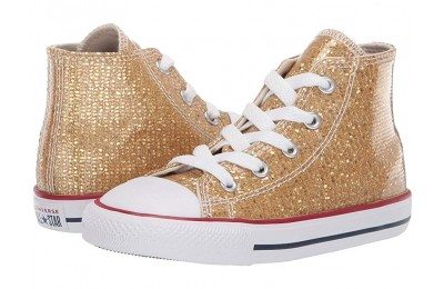 Black Friday Converse Kids Chuck Taylor All Star Sparkle - Hi (Infant/Toddler) Gold/Enamel Red/White Sale