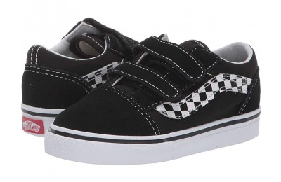 Vans Kids Old Skool V (Infant/Toddler) (Sidestripe V) Black/True White