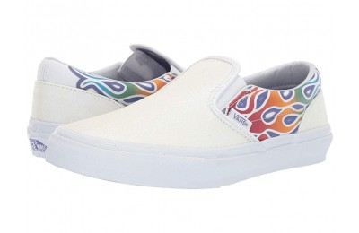 Christmas Deals 2019 - Vans Kids Classic Slip-On (Little Kid/Big Kid) (Sparkle Flame) Rainbow/True White