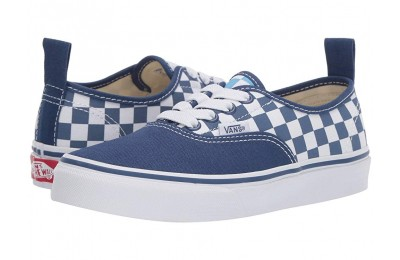 Vans Kids Authentic Elastic Lace (Little Kid/Big Kid) (Checkerboard) True Navy/Bonnie Blue