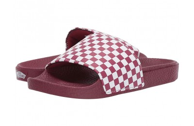 Vans Kids Slide-On (Little Kid/Big Kid) (Checkerboard) Rumba Red/White