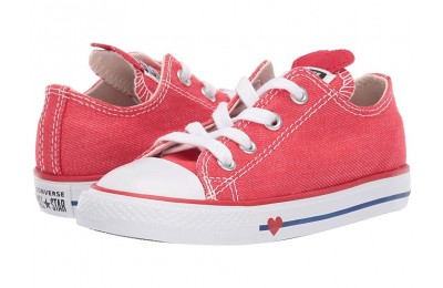 [ Hot Deals ] Converse Kids Chuck Taylor All Star Denim Love - Ox (Infant/Toddler) Sedona Red/Enamel Red/Blue