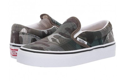 [ Hot Deals ] Vans Kids Classic Slip-On (Little Kid/Big Kid) (Plaid Camo) Grape Leaf/True White
